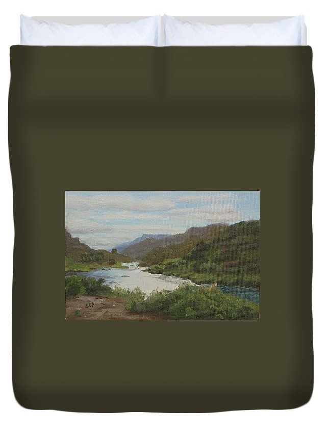 Landscape Duvet Cover featuring the painting The Rio Grande Between Taos And Santa Fe by Lea Novak