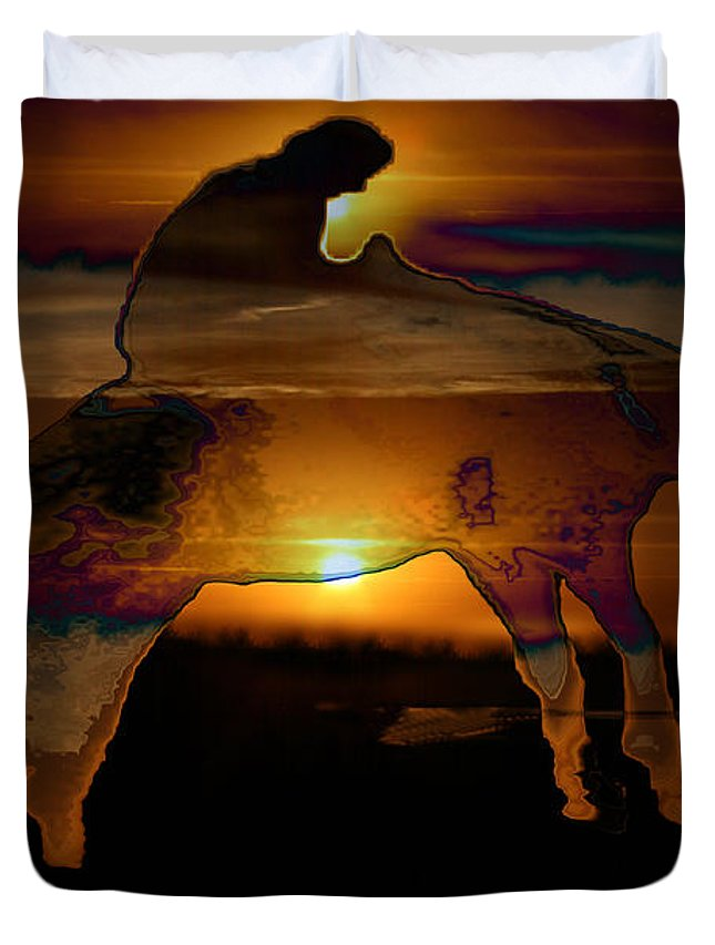 Cowboy Horse Bronc Rider Rodeo Sunrise Skyline Skyscape Sun Clouds Rider Duvet Cover featuring the photograph The Ripple Effect by Andrea Lawrence