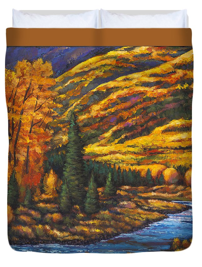 Landscape Duvet Cover featuring the painting The River Runs by Johnathan Harris