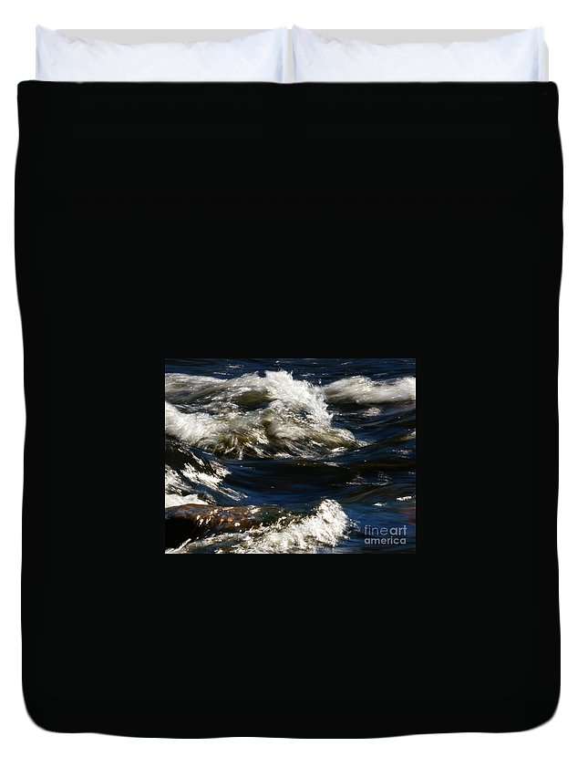 River Duvet Cover featuring the photograph The River Rush by Linda Shafer