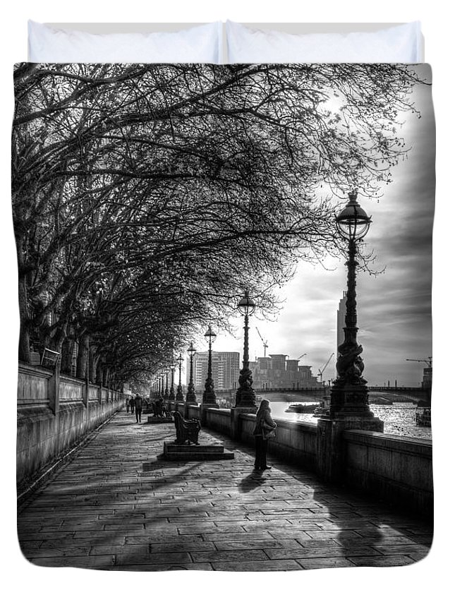 Westminster Duvet Cover featuring the photograph The River Thames Path by David Pyatt