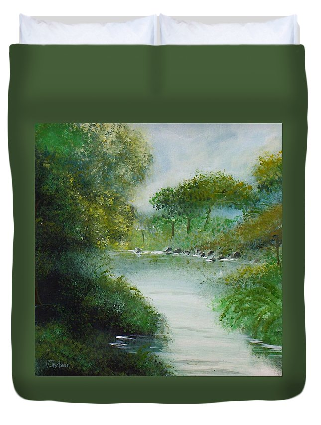 River Water Trees Clouds Leaves Nature Green Duvet Cover featuring the painting The River by Veronica Jackson