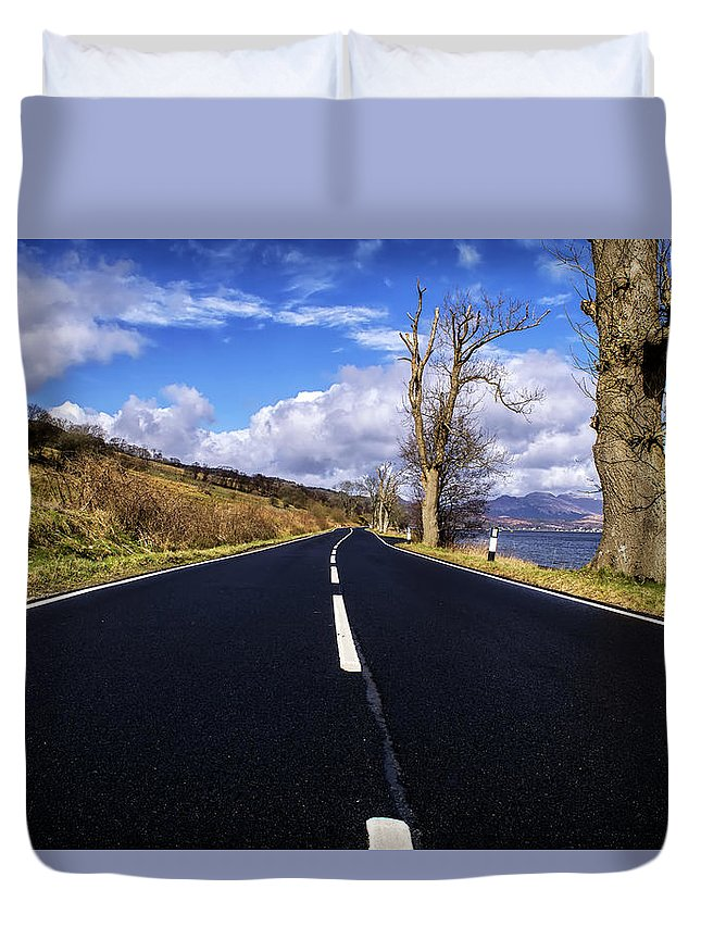 Afternoon Duvet Cover featuring the digital art The Road Home by Gary Ellis