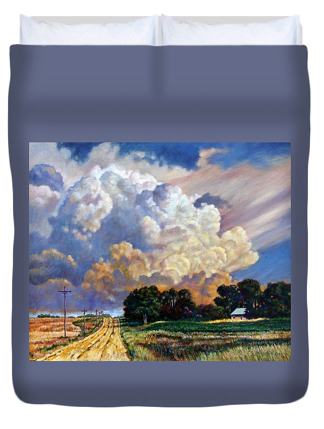 Landscape Duvet Cover featuring the painting The Road Home by John Lautermilch