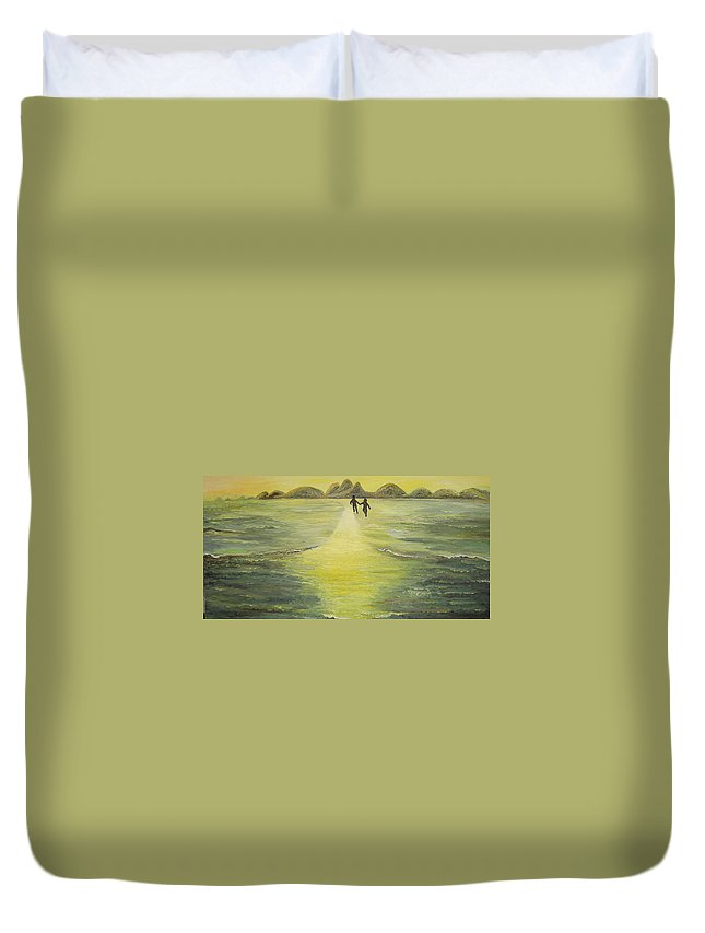 Soul Duvet Cover featuring the painting The Road In The Ocean Of Light by Karina Ishkhanova