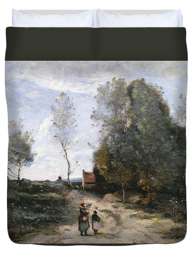 The Duvet Cover featuring the painting The Road by Jean Baptiste Camille Corot