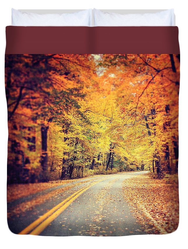 Autumn Landscape Duvet Cover featuring the photograph The Road Less Traveled by Lisa Russo