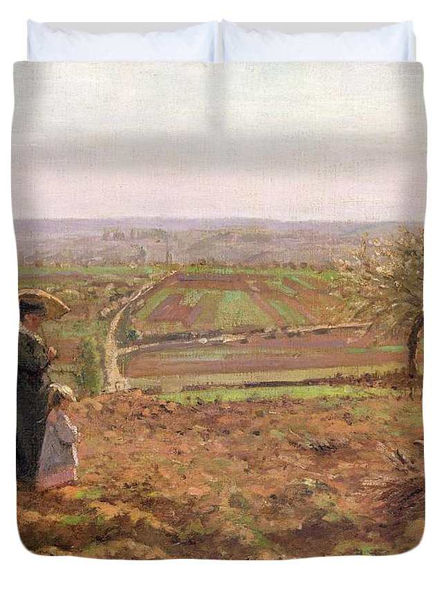 The Duvet Cover featuring the painting The Road To Rouen by Camille Pissarro
