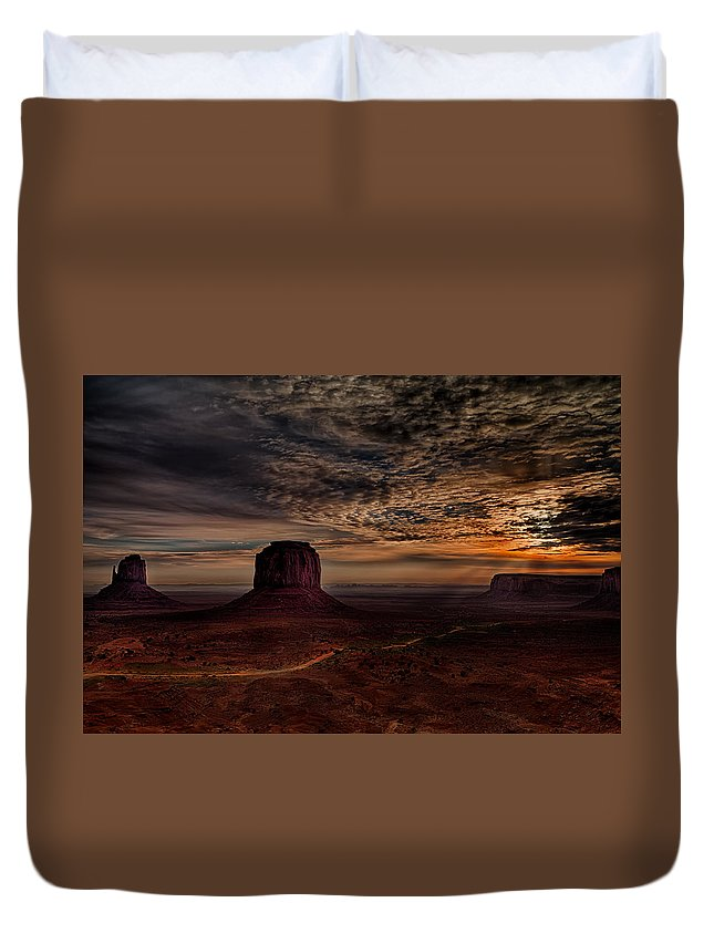 The Road To Sunrise Duvet Cover featuring the photograph The Road To Sunrise by Janet Ballard
