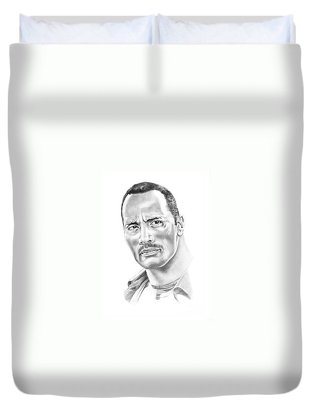 Pencil Duvet Cover featuring the drawing The Roc  Dwain Johnson by Murphy Elliott