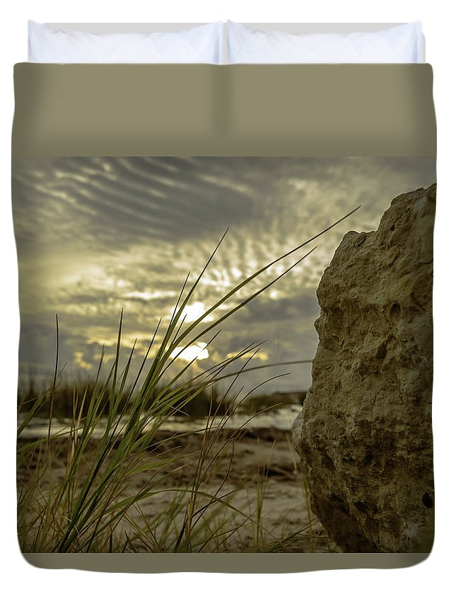 Sunrise Duvet Cover featuring the photograph The Rock by Leticia Latocki