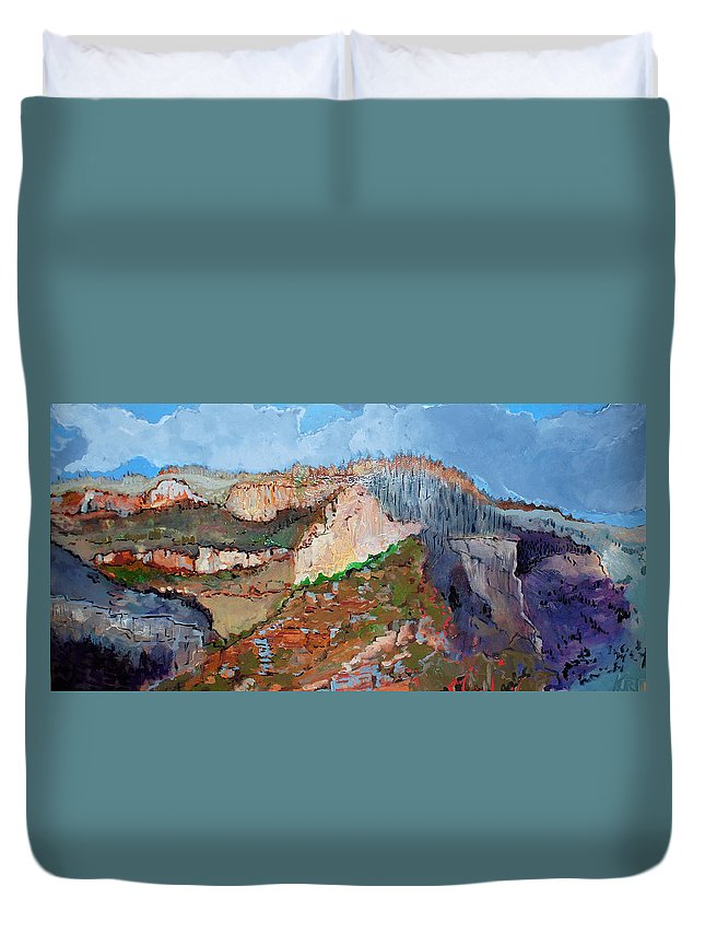 Mountains Duvet Cover featuring the painting The Rockies by Kurt Hausmann