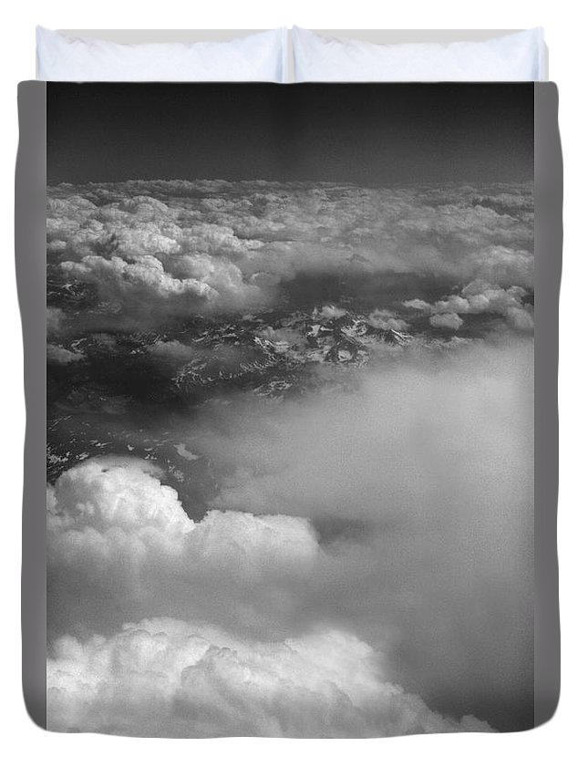Aerial Photography Duvet Cover featuring the photograph The Rockies by Richard Rizzo