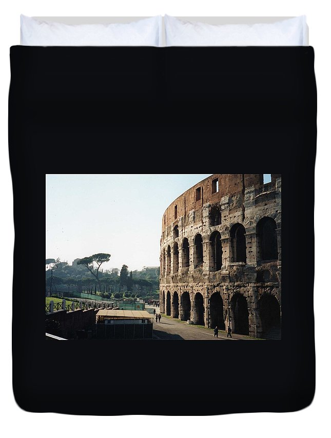 Roman Duvet Cover featuring the photograph The Roman Colosseum by Marna Edwards Flavell