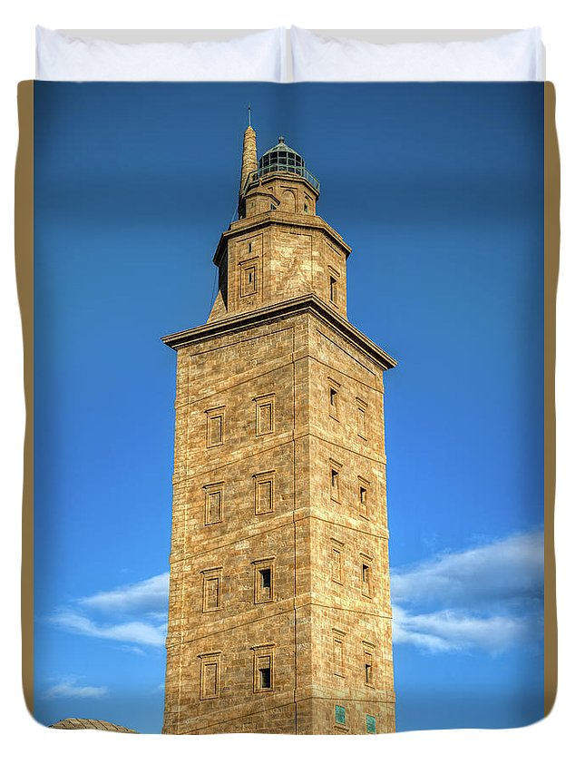 Galicia Duvet Cover featuring the photograph The Roman Lighthouse Known As Tower Of Hercules by Luis Vilanova