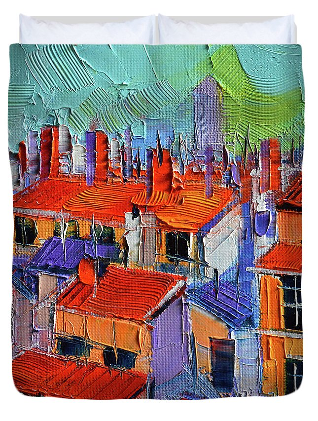 The Rooftops Duvet Cover featuring the painting The Rooftops by Mona Edulesco