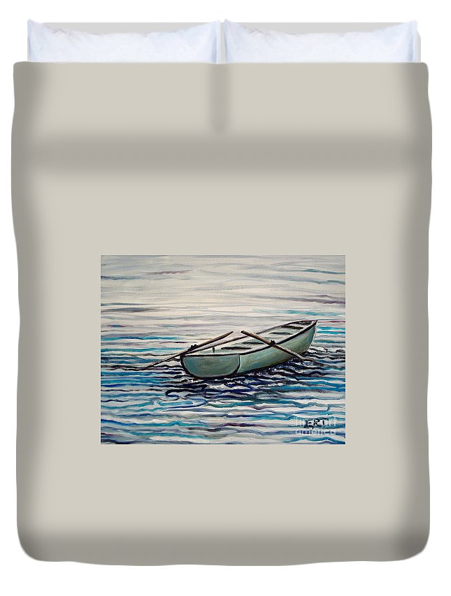 Water Duvet Cover featuring the painting The Row Boat by Elizabeth Robinette Tyndall