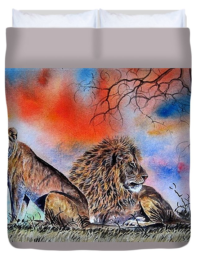 Lions Duvet Cover featuring the painting The Royal Lions Of The Mara by William Mutua