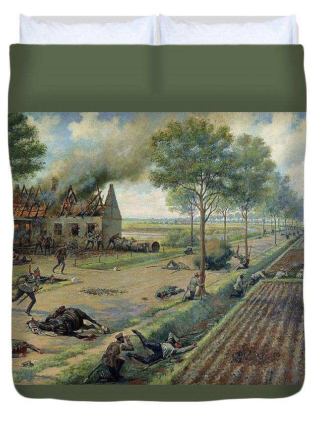 The Duvet Cover featuring the painting The Russian Cavalry Fighting The Germans In A Village In 1915 by Viktor Viketyevich Masurovsky