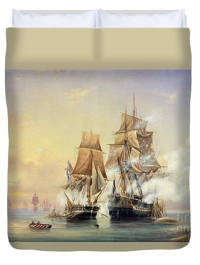 The Duvet Cover featuring the painting The Russian Cutter Mercury Captures The Swedish Frigate Venus On 21st May 1789 by Aleksei Petrovich Bogolyubov