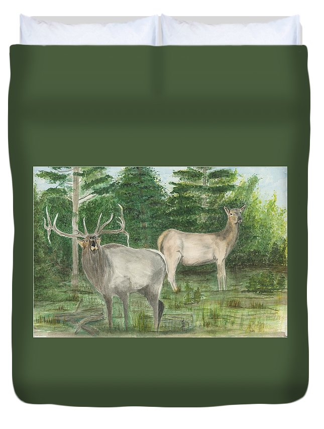 Bull Elk Duvet Cover featuring the painting The Rut by Sara Stevenson