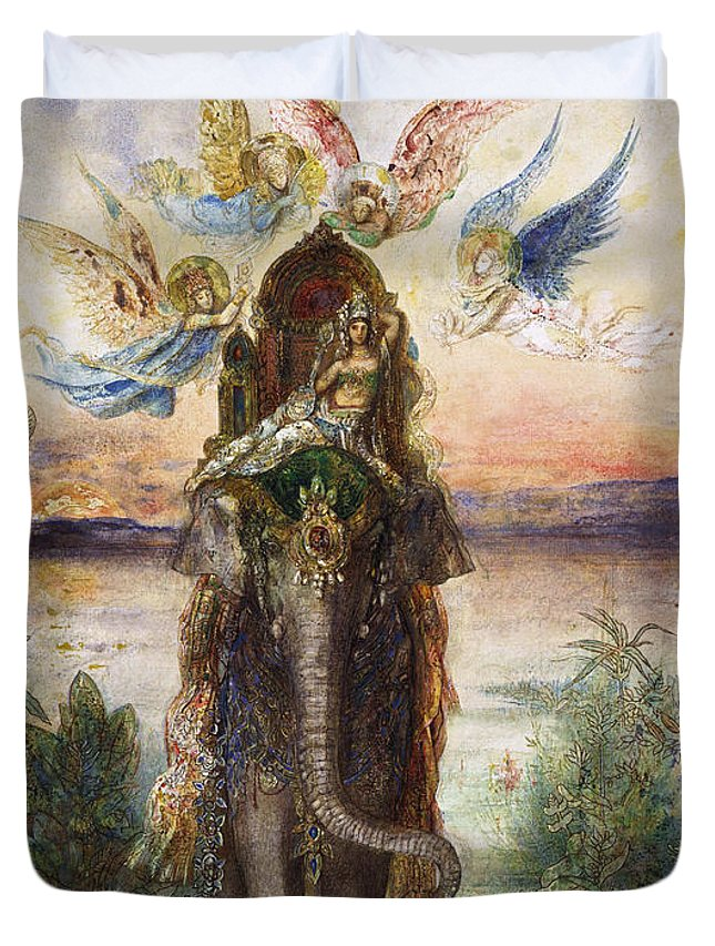 Animal Duvet Cover featuring the painting The Sacred Elephant 1882 by Gustave Moreau