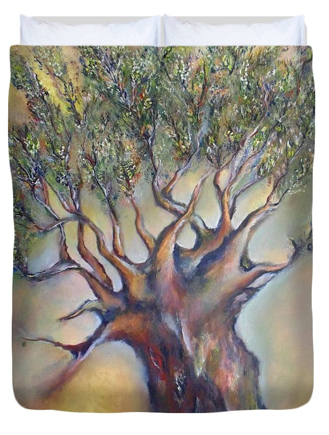 Tree Duvet Cover featuring the painting The Sacred Tree by Despoina Ntarda