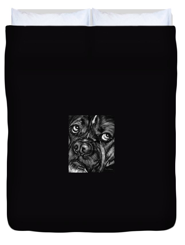 Animals Duvet Cover featuring the painting The Sad Boxer by Portraits By NC