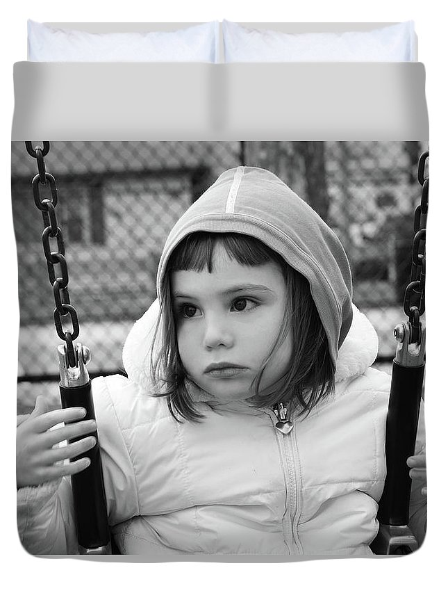 People Duvet Cover featuring the photograph The Sad Girl On A Swing by Alex Galkin