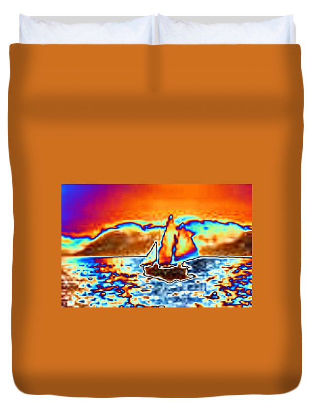 Sail Duvet Cover featuring the digital art The Sail by Tim Allen