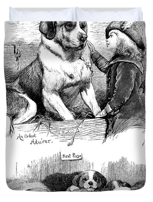 St Bernard Duvet Cover featuring the painting The Saint Bernard Club Dog Show by Charles Burton Barber