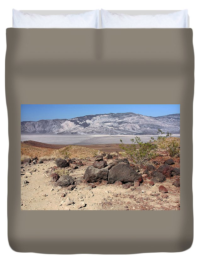 Death Valley National Park Duvet Cover featuring the photograph The Salt Flats Of Death Valley by Christine Till