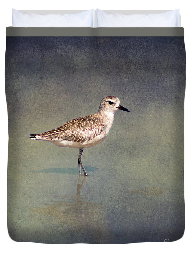 Sanderling Duvet Cover featuring the photograph The Sanderling 2 By Darrell Hutto by J Darrell Hutto