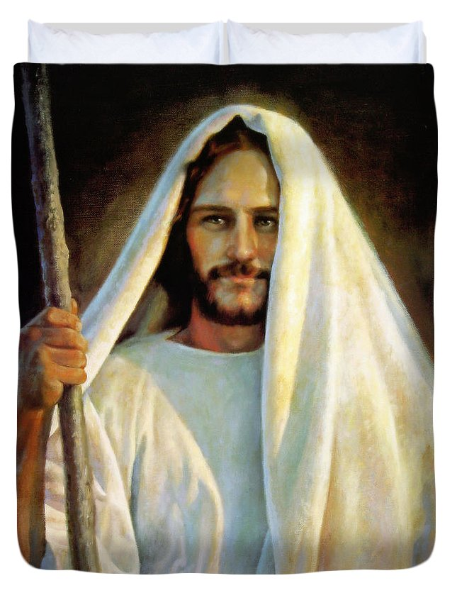 Jesus Duvet Cover featuring the painting The Savior by Greg Olsen