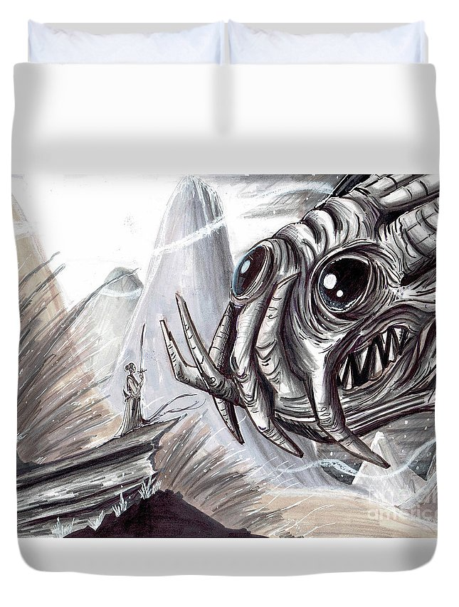 Space Duvet Cover featuring the mixed media The Scarifice by Keith Murrell