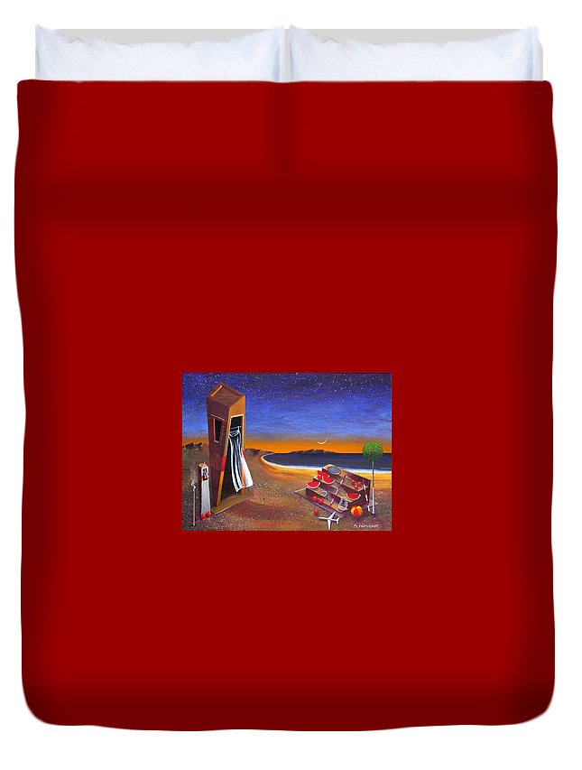 Landscape Duvet Cover featuring the painting The School Of Metaphysical Thought by Dimitris Milionis