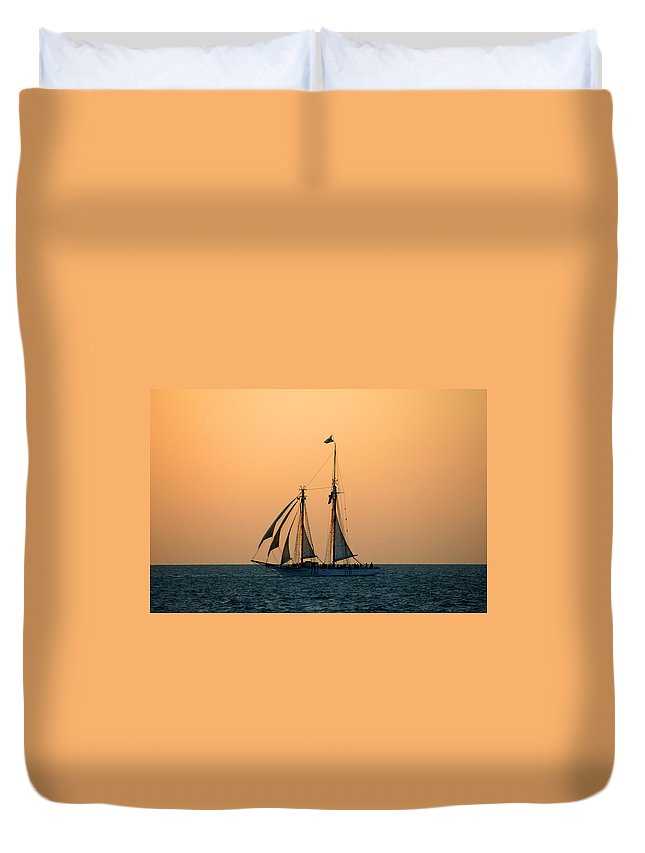 Boat Duvet Cover featuring the photograph The Schooner America by Susanne Van Hulst