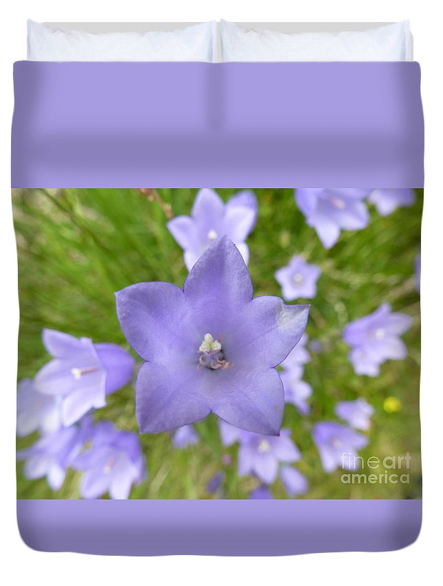 Flower Duvet Cover featuring the photograph The Scottish Bellflower by ART-C Jason and Mirah McCall