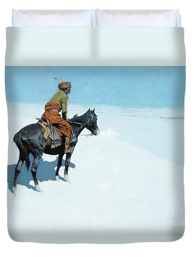 The Scout Duvet Cover featuring the painting The Scout Friends Or Foes by Frederic Remington