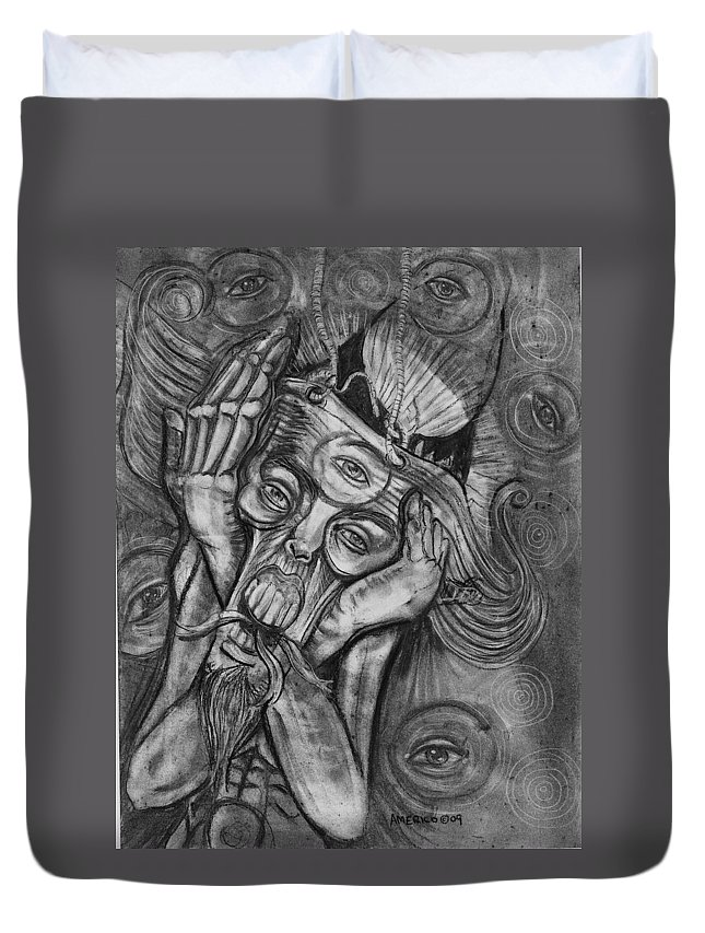 The Scream Duvet Cover featuring the drawing The Scream by Americo Salazar