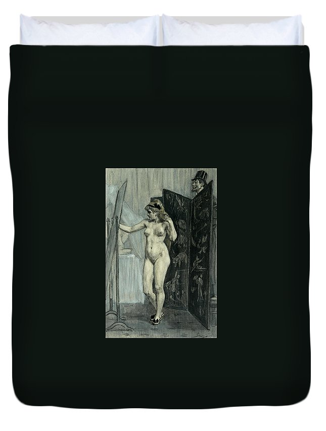 Felicien Rops Duvet Cover featuring the drawing The Screen by Felicien Rops