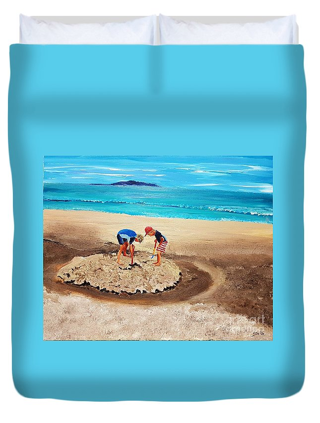 Children Duvet Cover featuring the painting The Sea Surges Up With Laughter by Eli Gross