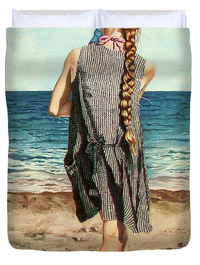 Sea Duvet Cover featuring the painting The Secret Beauty - La Belleza Secreta by Rezzan Erguvan-Onal