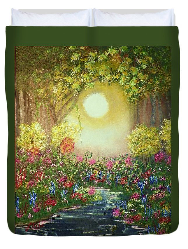 Acrylics Duvet Cover featuring the painting The Secret Garden by Laurie Kidd