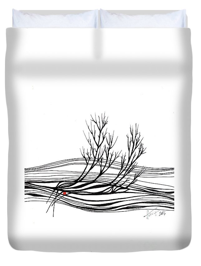 Trees Duvet Cover featuring the drawing The Seed by Aniko Hencz
