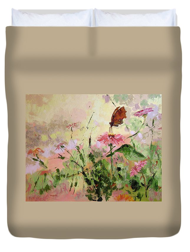 Butterflies Duvet Cover featuring the painting The Seeker by Ginger Concepcion