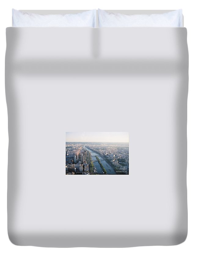 City Duvet Cover featuring the photograph The Seine River In Paris by Nadine Rippelmeyer