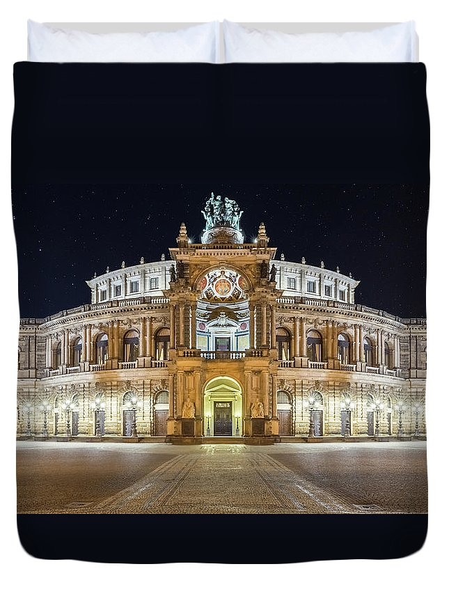 Opera Duvet Cover featuring the photograph The Semper-opera by Klaus Tetzner
