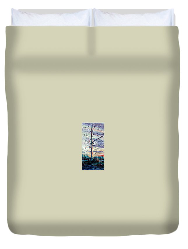 Lone Tree Duvet Cover featuring the painting The Sentinel by Ginger Concepcion