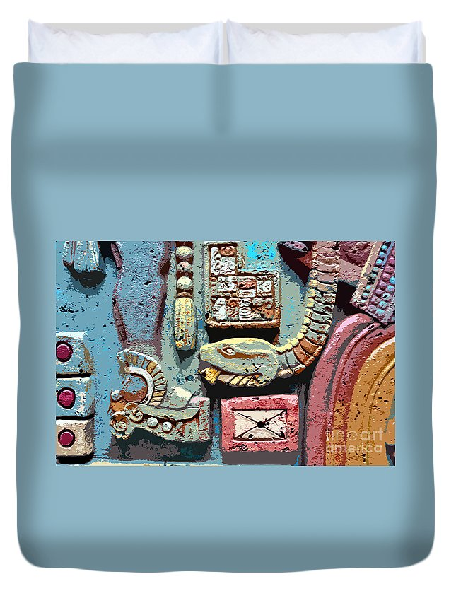 Snake Duvet Cover featuring the painting The Serpent's Message by David Lee Thompson